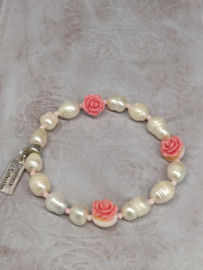 """Armband """"Pearls & Roses"""" roze"""