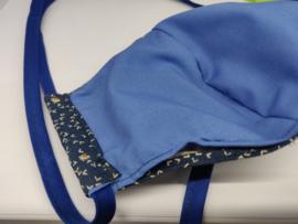 """Maat """"M"""" - """"Blue Flight """"-  blauw binnenmasker - effen blauw lint"""