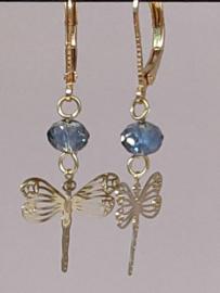 DQ oorbellen goudkleur blauw kristal en libelle