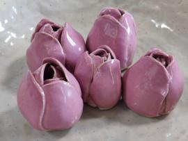"""Set van 5 handgevormde tulpen  - """"Pink"""""""