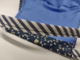 """Maat """"M"""" - Blue  Flight"""" -  blauw binnenmasker - gestreept blauw/wit lint"""