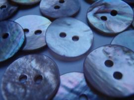 KA045 Knoop 2 gaatjes - 15 mm - parelmoer (schelp) schakering rozig/paars