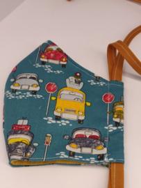 """Maat """"L"""" - retro cars-  geel  binnenmasker - zachtbruin  lint"""
