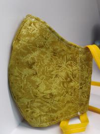 """Maat """"M"""" - luxe uitvoering """"golden print"""" - geel binnenmasker  - geel lint - Limited edition"""