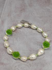 "Armband ""Pearls & Roses"" groen"