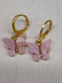 """Oorbel """"Butterfly"""" lila/roze"""