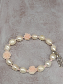 """Armband """"Pearls & Roses"""" lichtroze"""