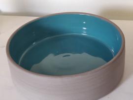 Turquoise keramiek : Ovenschotel  17cm diameter en 5 cm hoog