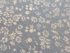 Blauw katoen met bloemetjes ( per 10cm)