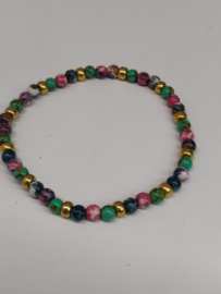 Fijne armband in natuursteentjes: kleur multicolor