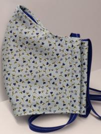 "Maat ""M"" - Superfijne bloemetjes-  blauw binnenmasker - blauw  lint"