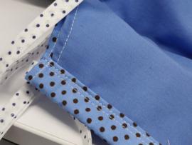 "Maat ""M"" - polka dots-  blauw binnenmasker - polka dot lint"