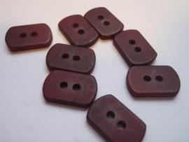 KA036 Knoop 2 gaatjes - 10 mm X 15 mm rechthoekig- bordeaux