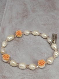 "Armband ""Pearls & Roses"" zalmrose"
