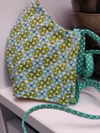 """Maat """"M"""" - Green dazzling-  geel binnenmasker - groen bolletjes lint"""