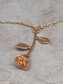 Halsketting kleur coppergold met roos