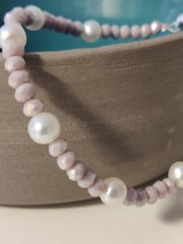 Fijn armbandje met kristal en zoetwaterparels - lillarose