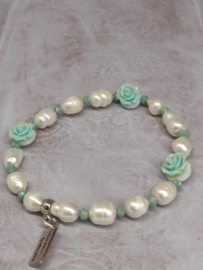 """Armband """"Pearls & Roses"""" zacht turqouize groen"""