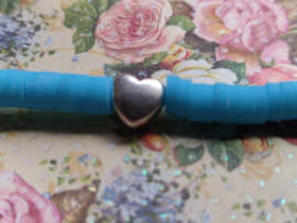 Armbandje Katsuki blauw met zilverkleurig hartje - rekarmbandje