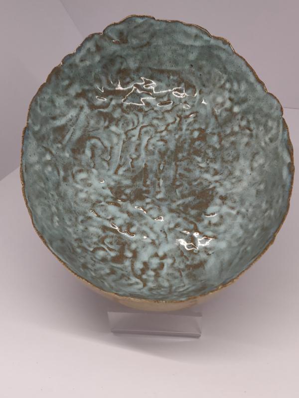 """Handgevormde schaal - """"Blue Moon"""" ovaal   +/- 22 X 17 cm"""