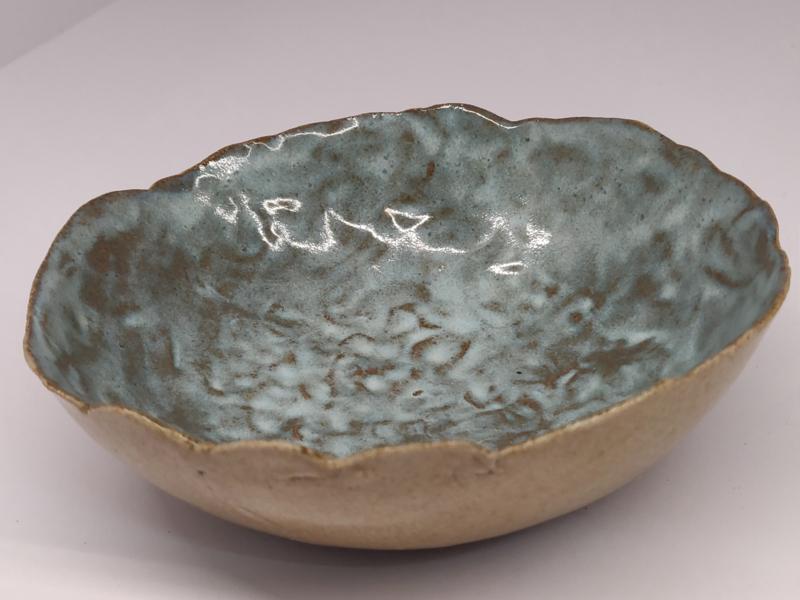 """Handgevormd schaaltje- """"Blue Moon"""" diameter   +/- 13 cm"""