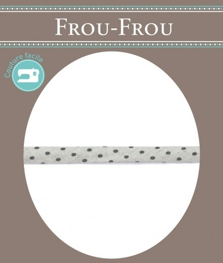 FROU FROU Spaghettikoord - 7 mm dotjes grijs - per 10 cm
