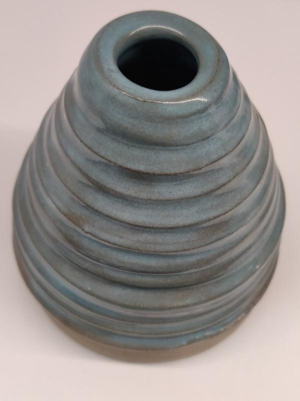 Minivaasje 4 - kleur zacht turquoise - handwerk gestempeld