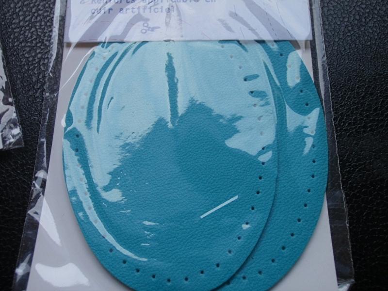 Knie- of ellebooglapjes in kunstleer klein formaat 6x9 cm - turquoize