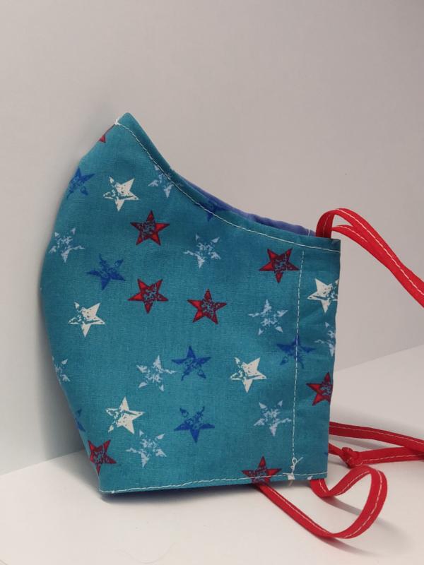 """Maat """"L"""" -""""STARS""""  blauw  binnenmasker - rood lint"""