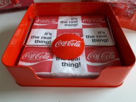 Metalen Coca-Cola servetten houder met servetten