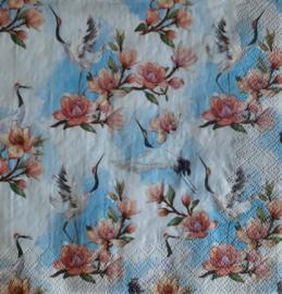 7208 Kraanvogels en bloemen