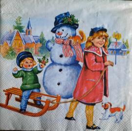 6903 Kinderen met sneeuwpop