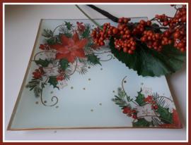 Glazen serveerschaaltje kerstster