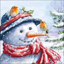 7282 Sneeuwpop met roodborstjes