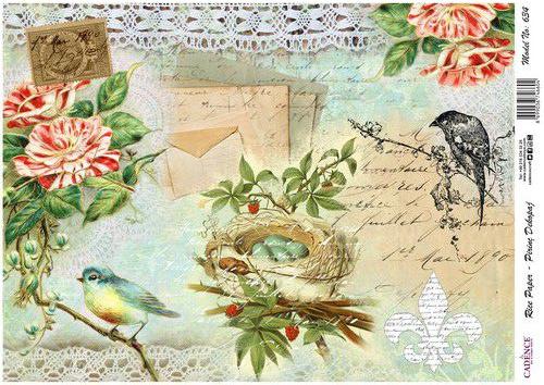 Cadence ricepaper Vogel en nest (art634)