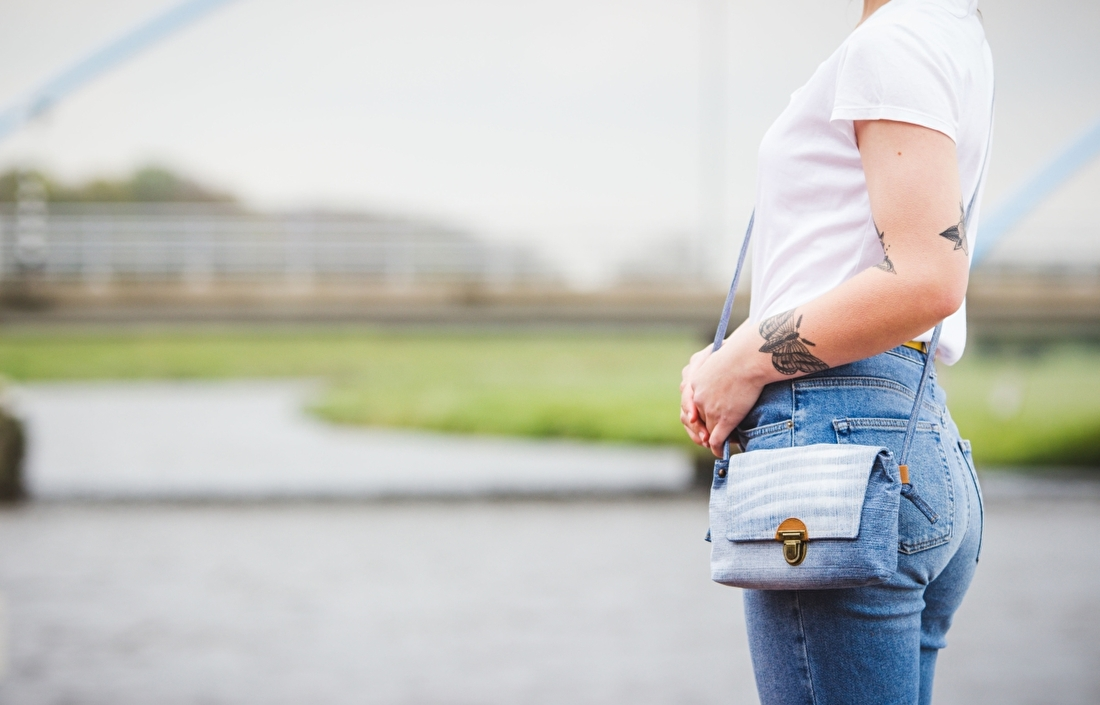klein stap tasje, jeans tasje, vegantas