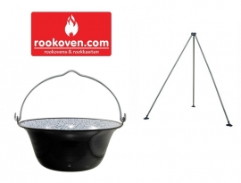 Goulashpan / heksenketel / kookketel 10 liter  INCLUSIEF DRIEPOOT!