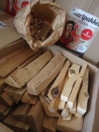 Rookhout Eiken, aanmaakhout, aanmaakblokje, eiken krullen zak  (starterspakket)