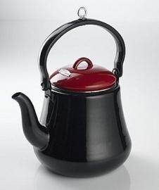Bon-fire Coffee/Tea pot, black/red enamel 2,2 LT.