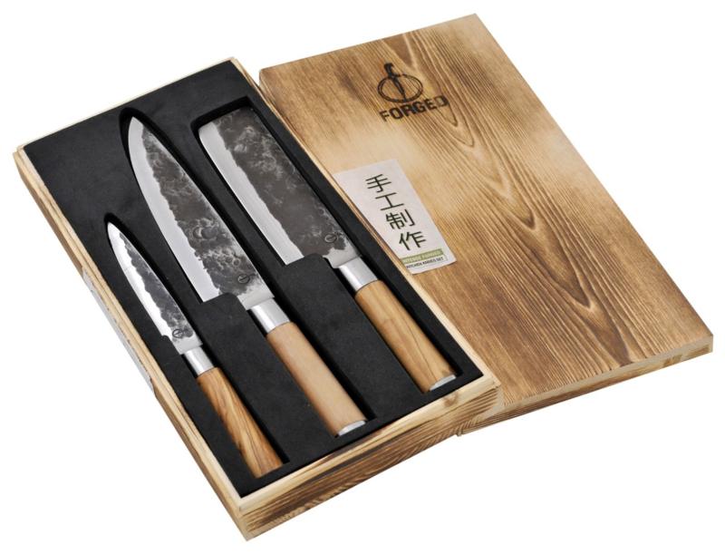 Olive Forged 3-part Kitchen Knife Set / 3-delige Keukenmessenset