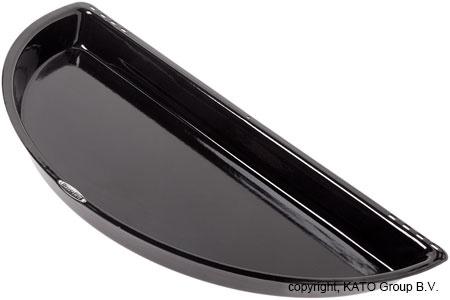 Half BBQ pan, black emaille, incl bevestiging's materiaal 60 cm diagonaal