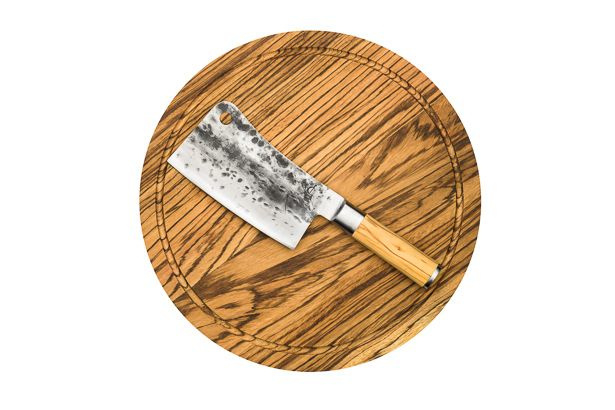 Olive Forged Asian Cleaver met Rond Hakblok