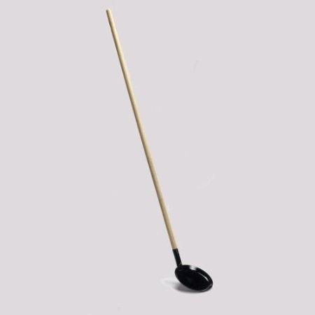 Bon-fire Pancake pan, black enamel, w. 130 cm separable wooden handle 28 cm diagonaal