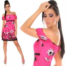 Actie!!  Off-Shoulder jurkje BloemenPrint Pink maat SML