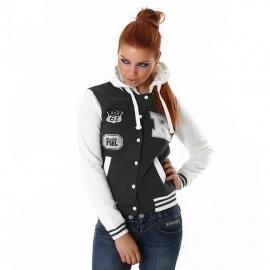 +-NeW+-Leuke Warme College Jas/Vest met Capuchon! Grijs/Wit maat M/L