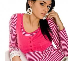 +-NeW+-Leuk Roze Gestreept Shirtje maat S/M