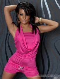 Actie!!!! JumpSuit met Waterfall Look & Broche Pink maat SML
