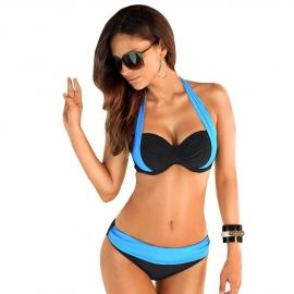 Leuke 2-kleurige Beugelbikini Turquoise/Zwart maat XL