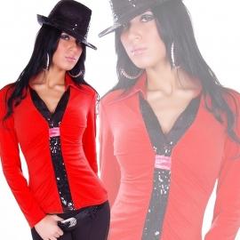 +-NeW+-Leuk Rood Truitje met Zwarte Pailletjes! maat SML
