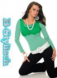+-NeW+-Erg leuk Gestreept Dames Shirtje Groen maat S/M